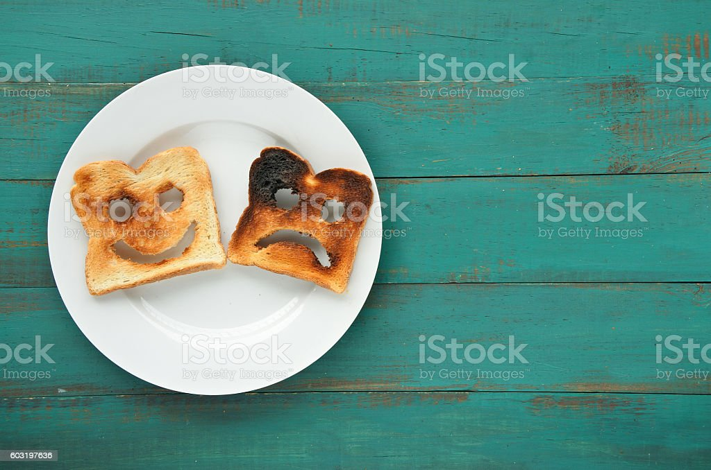 Flat lay view of two slices of toasted bread stock photo