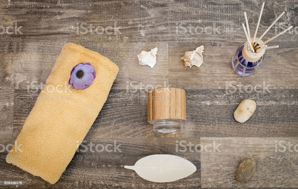 Flat lay - wellness products on a surface of wood stock photo