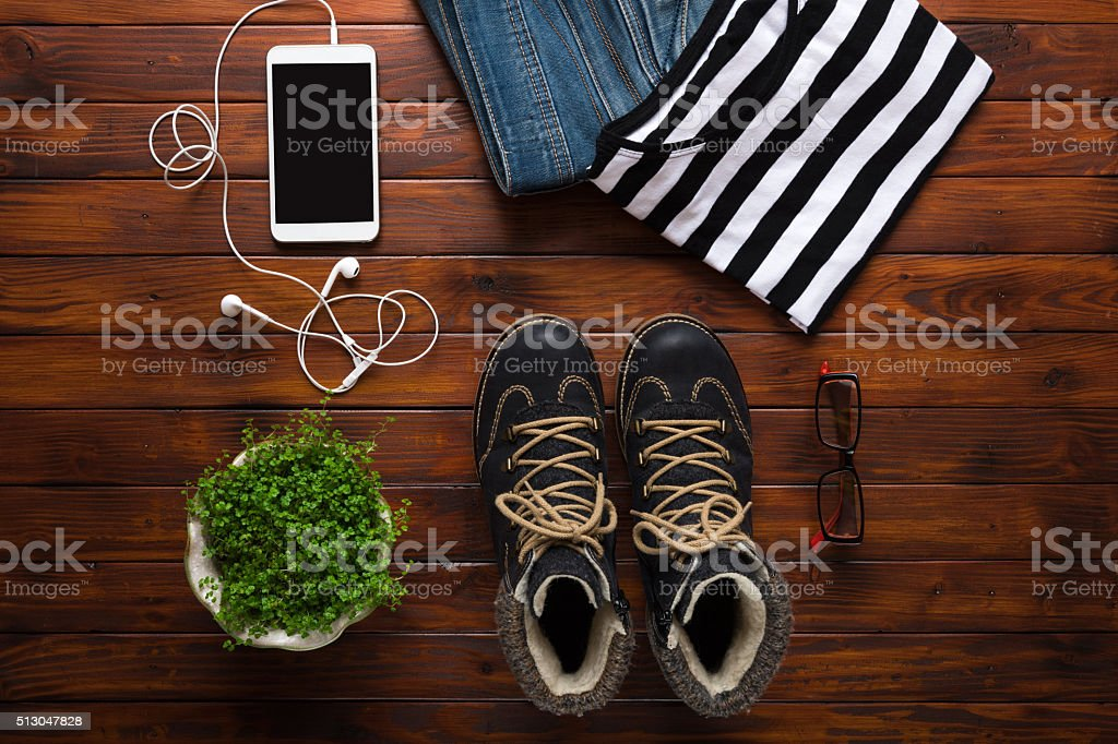 Flat lay winter hipster fashion background stock photo