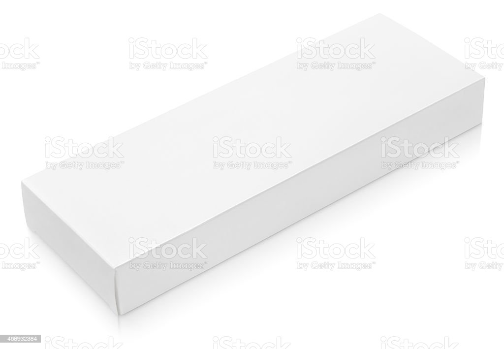 Flat long cardboard box template for chocolate stock photo