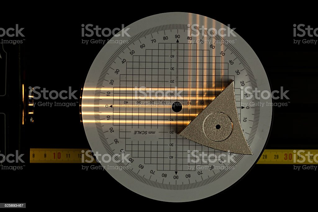 Flat mirror scientific experiment stock photo