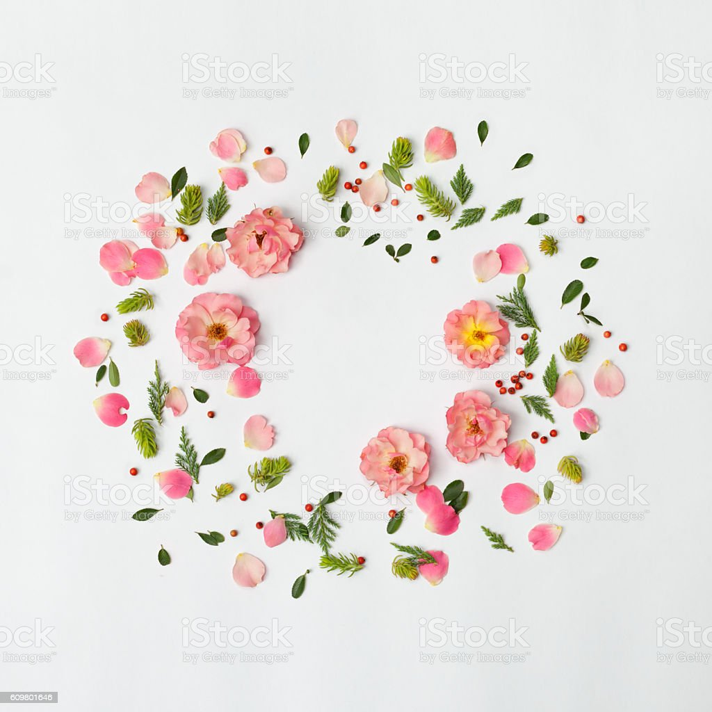 Flat nature floral round frame on white background, top view. stock photo