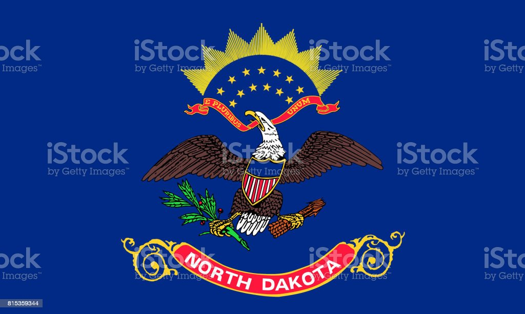 flat north dakota state flag - usa stock photo