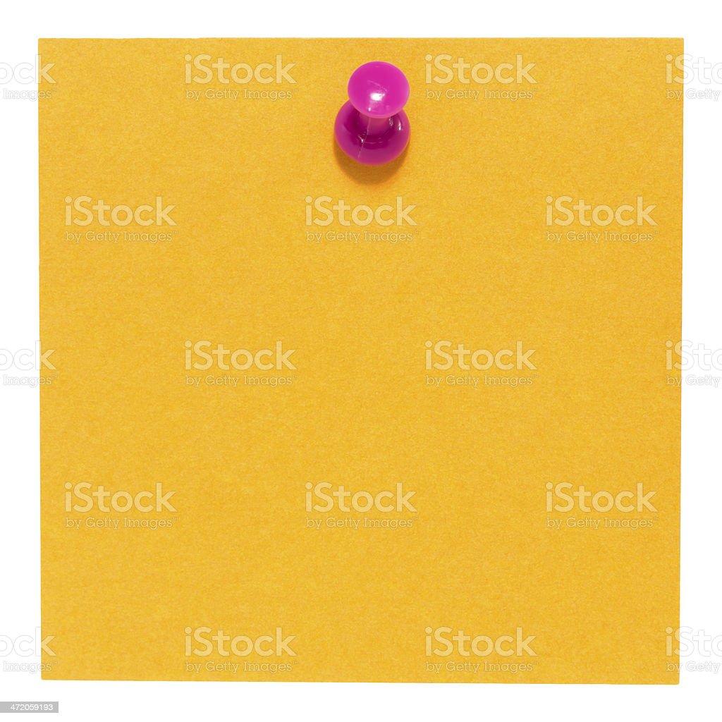 Piatto quadrato arancione foglietto adesivo, con una rosa pin, isolato foto stock royalty-free