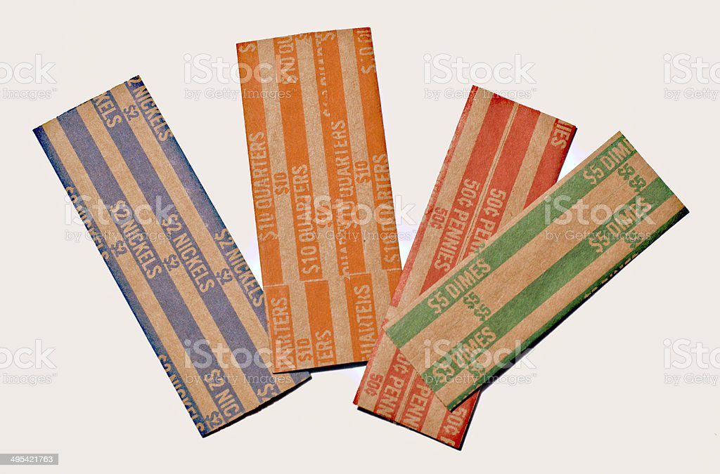 Flat Paper Coin Rolls stock photo