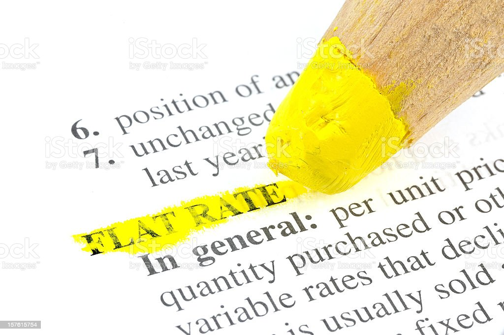 Flat Rate defintion abstract in dictionary highlighted yellow royalty-free stock photo