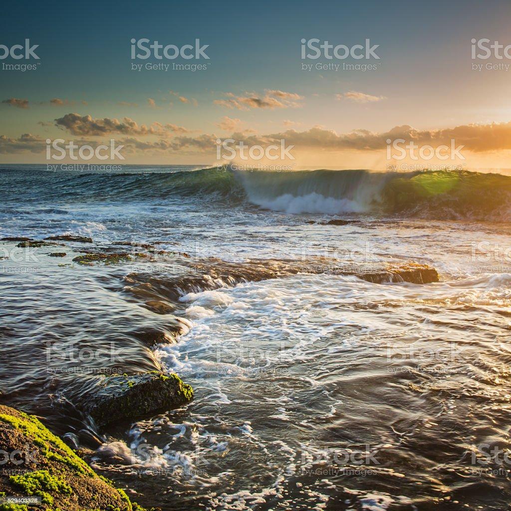 Flat Rock Ballina at Sunrise stock photo
