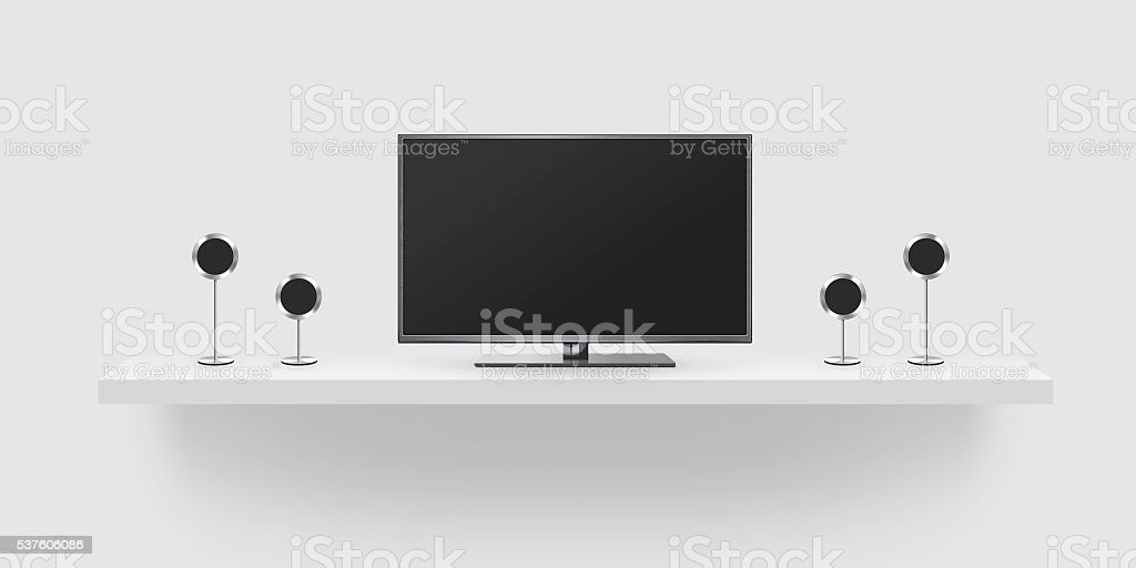 TV flat screen lcd, home theatre realistic illustration, front t stock photo