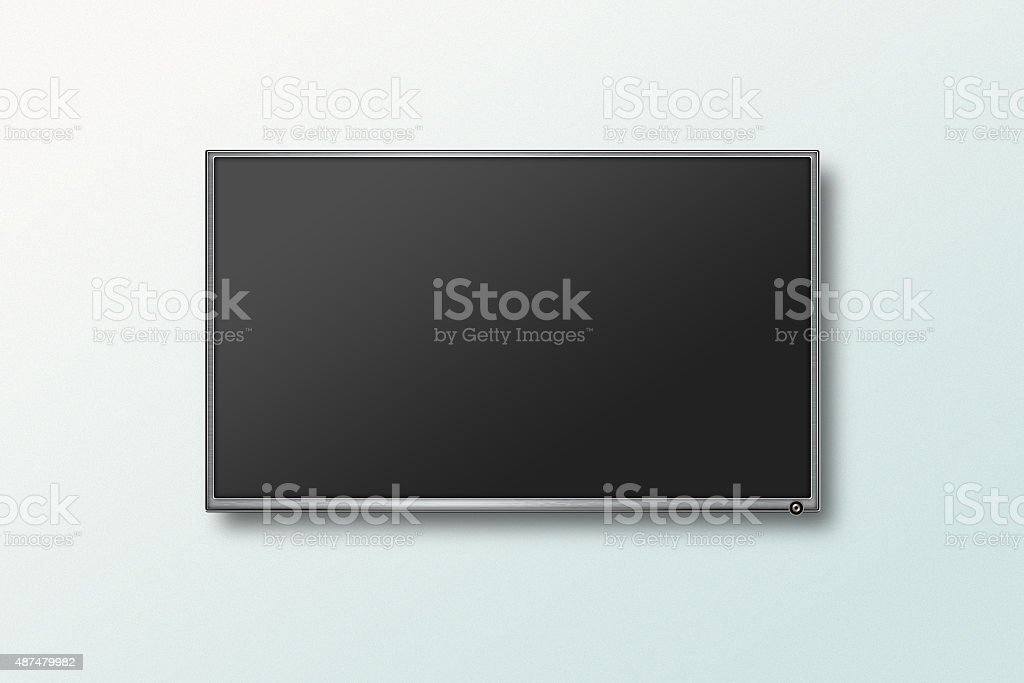 TV flat screen lcd on the wall, plasma realistic illustration stock photo