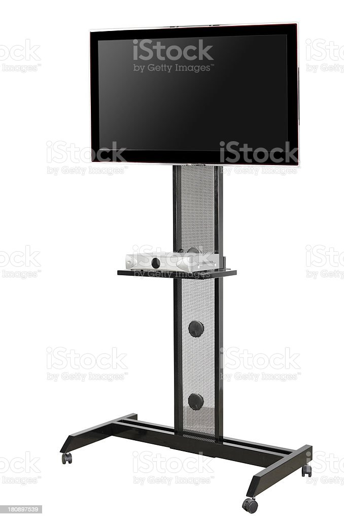 Flat screen to stand with single shelf for one component royalty-free stock photo