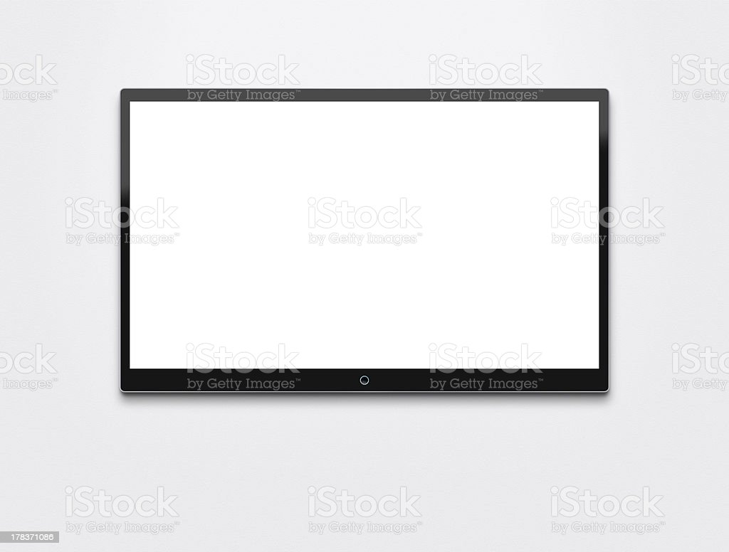 Flat screen TV at the wall stock photo