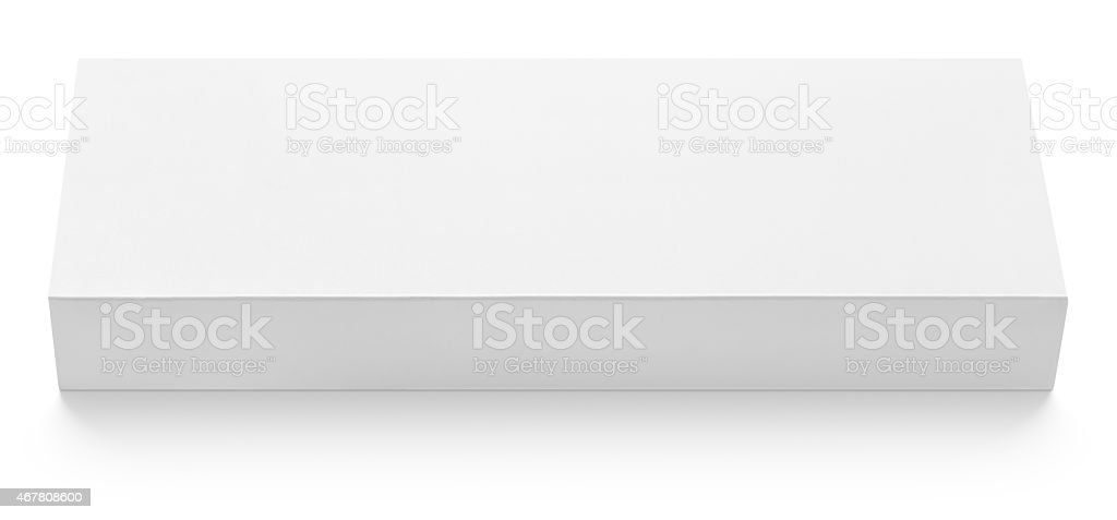 Flat slim cardboard box template for chocolate on white stock photo