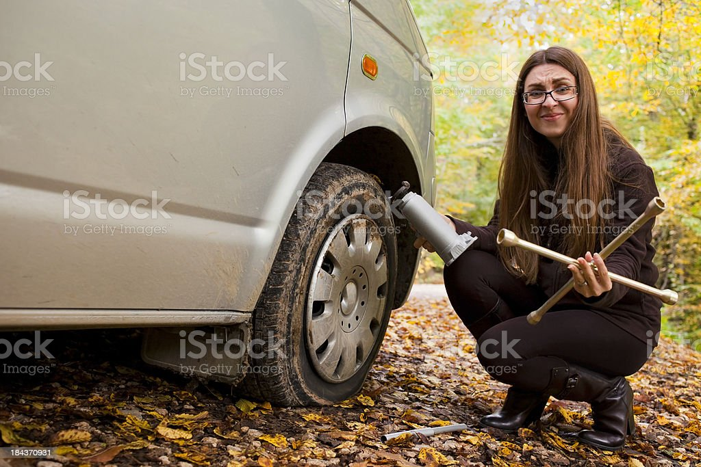 Flat tire and women At Nature royalty-free stock photo