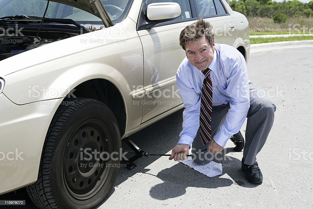 Flat Tire - Jack royalty-free stock photo