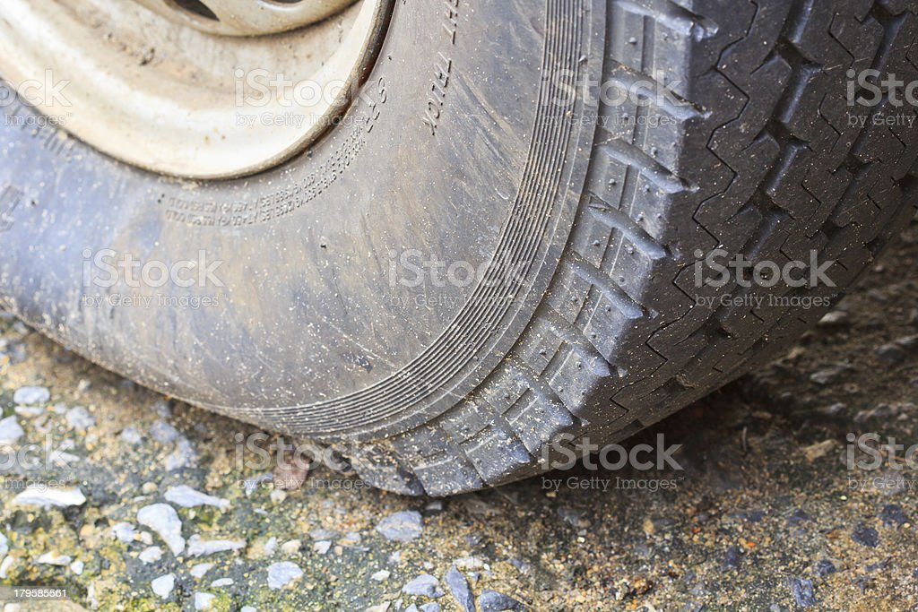 Flat  tire on car royalty-free stock photo
