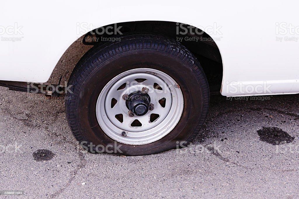flat, tire, tyre, car, damage, vandalism, problem, nuisance, transportation, stock photo