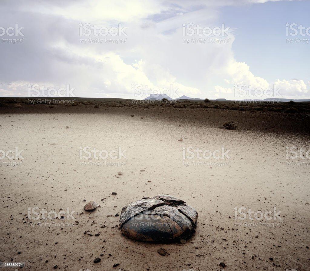 Flat Top Mesa and broken rock stock photo