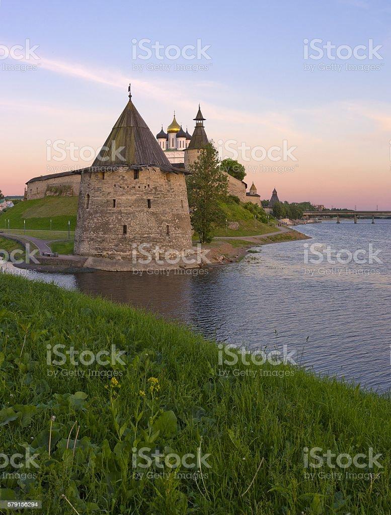 Flat tower of Pskov Kremlin, Russia stock photo