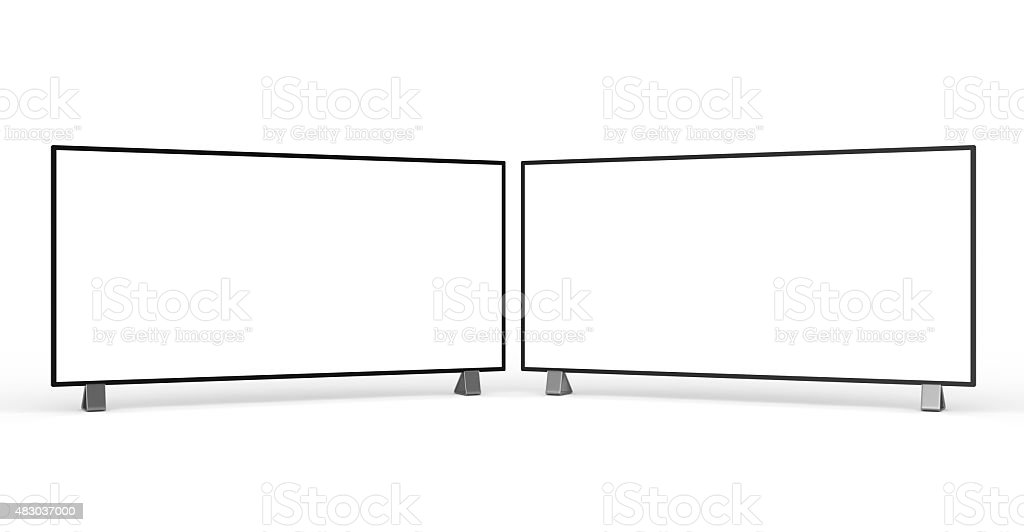 Flat TV and PC Monitor stock photo