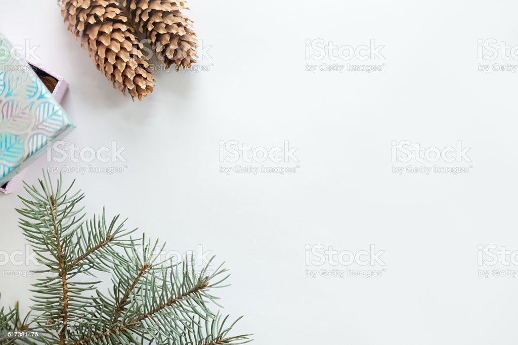 Flat view of Christmas decoration, copyspace stock photo