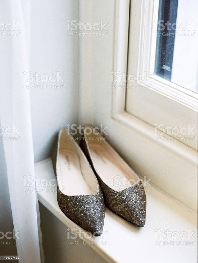 Flat Wedding Shoes royalty-free stock photo