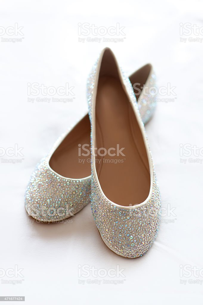flat wedding shoes with diamante stock photo