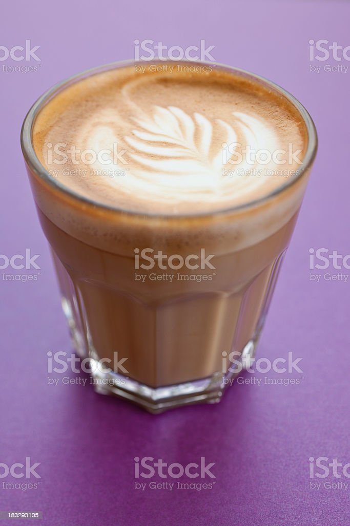 Flat white in a glass royalty-free stock photo