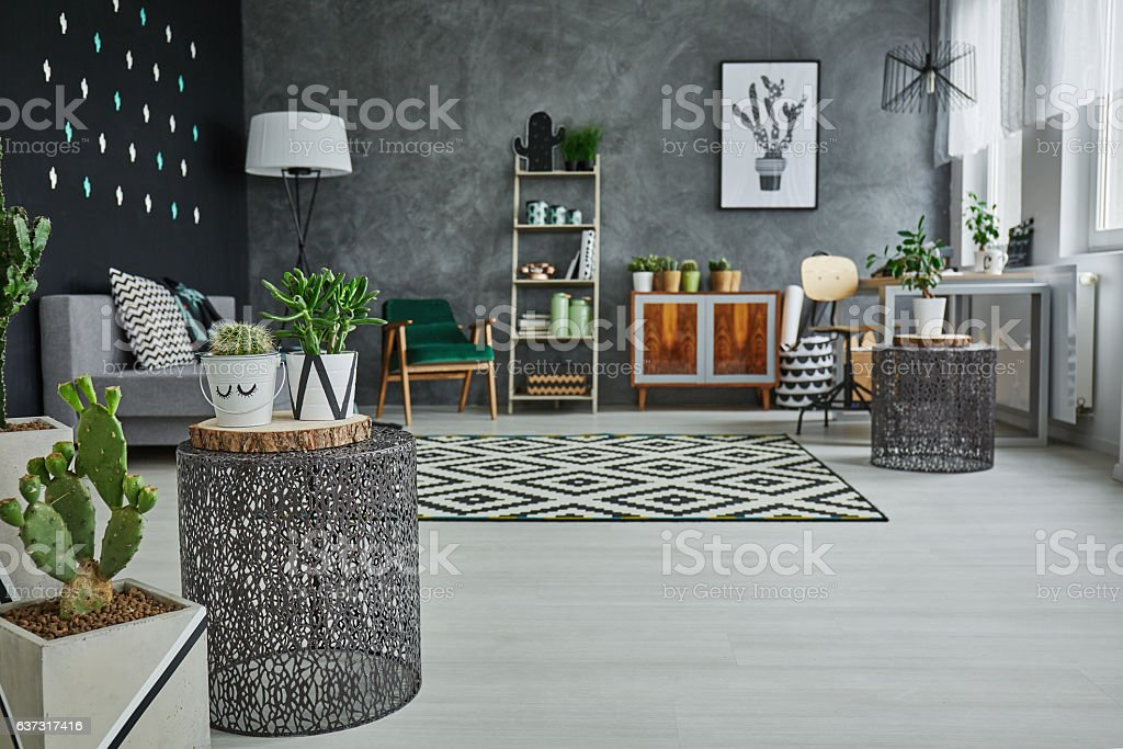 Flat with decorative metal accessories stock photo