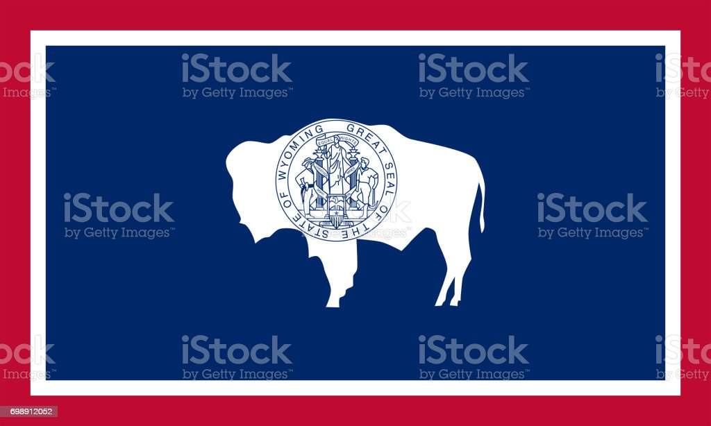 flat wyoming state flag - usa stock photo