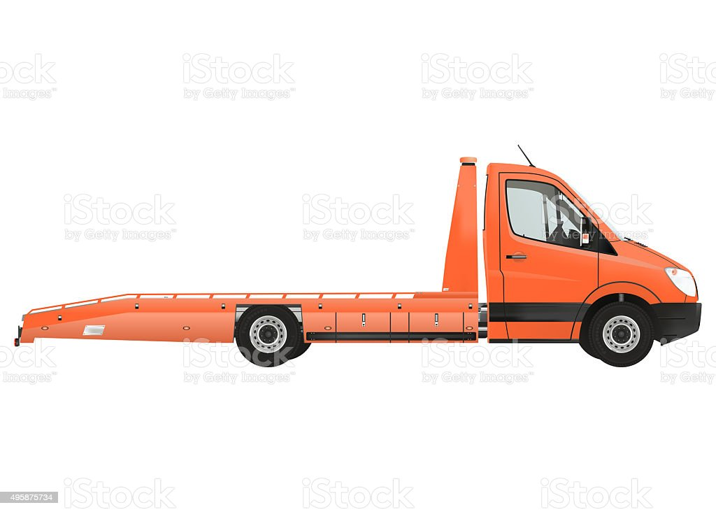 Flatbed recovery vehicle stock photo