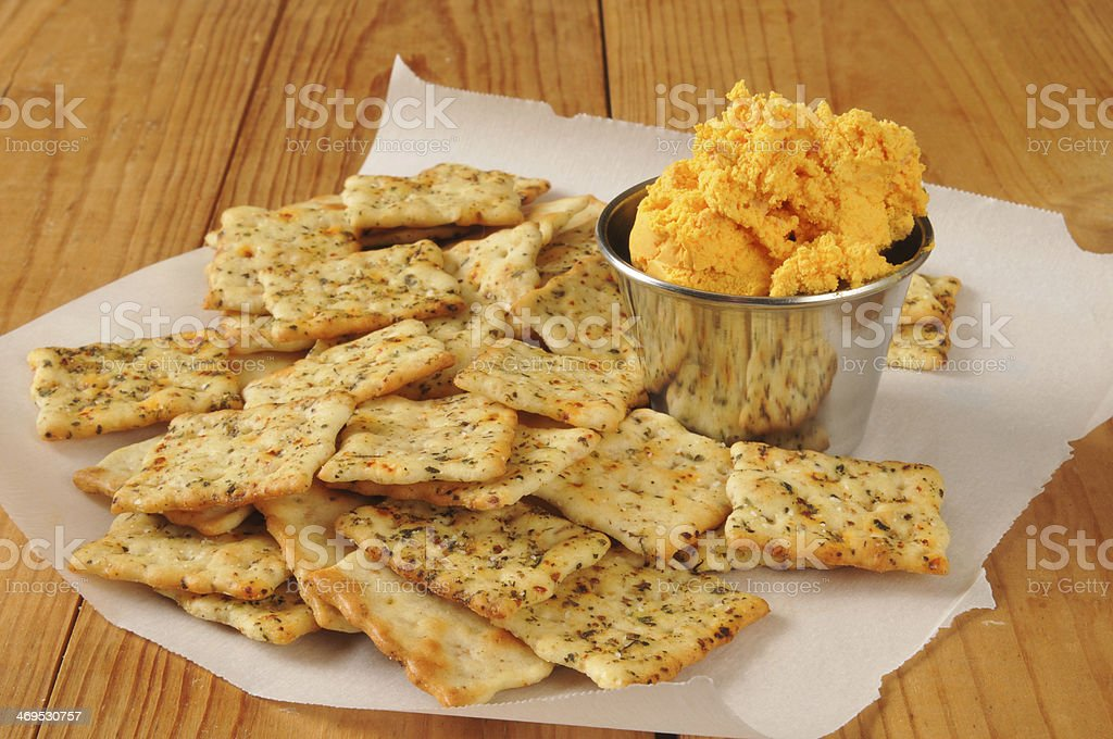 flatbread crackers with cheddar cheese royalty-free stock photo