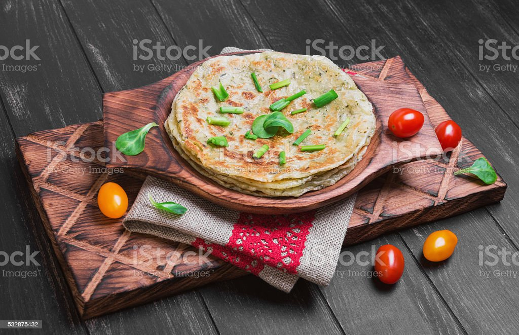 Flatbread Paratha roti stock photo