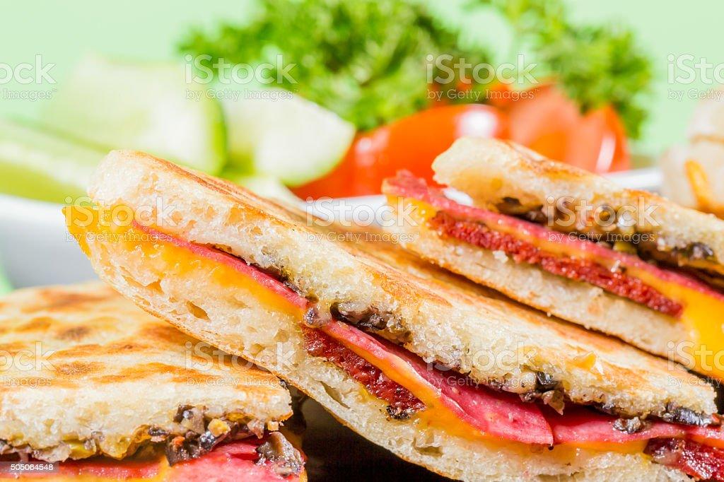 Flatbread Steak Sandwich stock photo