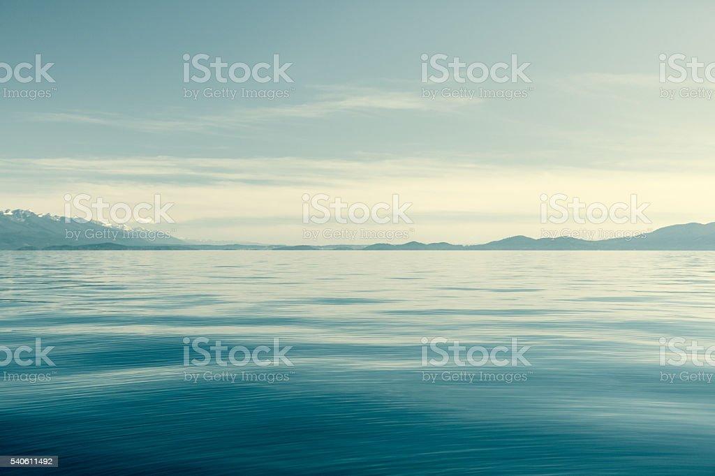 Flathead Lake Montana With Mission Mountains On Horizon stock photo