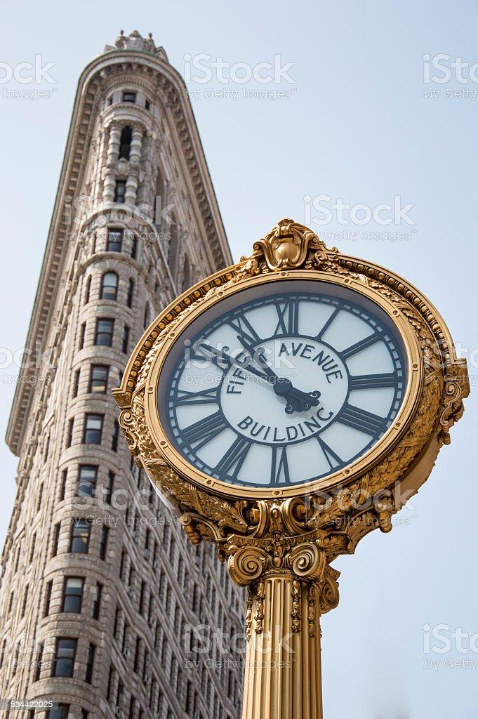 Flatiron building ad fifth avenue clock stock photo