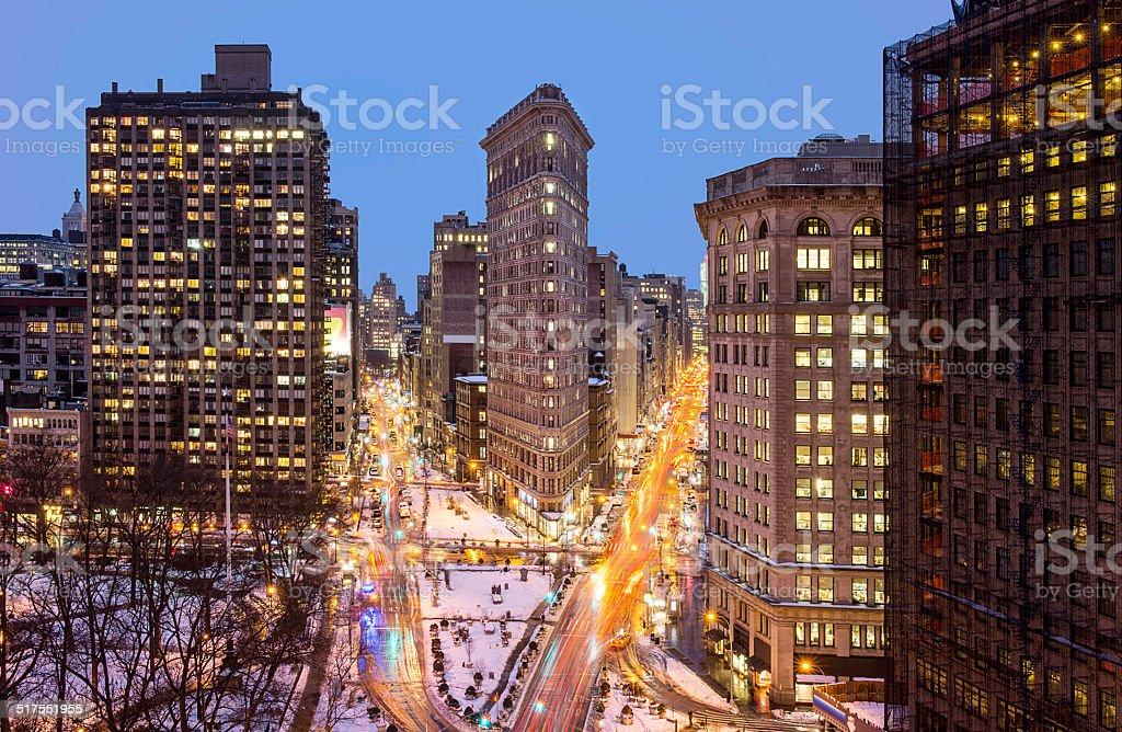 Flatiron Building aerial view in Manhattan stock photo
