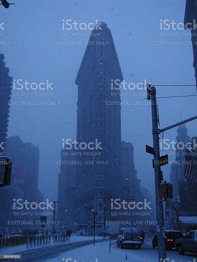 Flatiron Building NYC Snowstorm 2002 stock photo