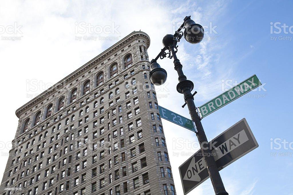 Flatiron Building with street sign stock photo