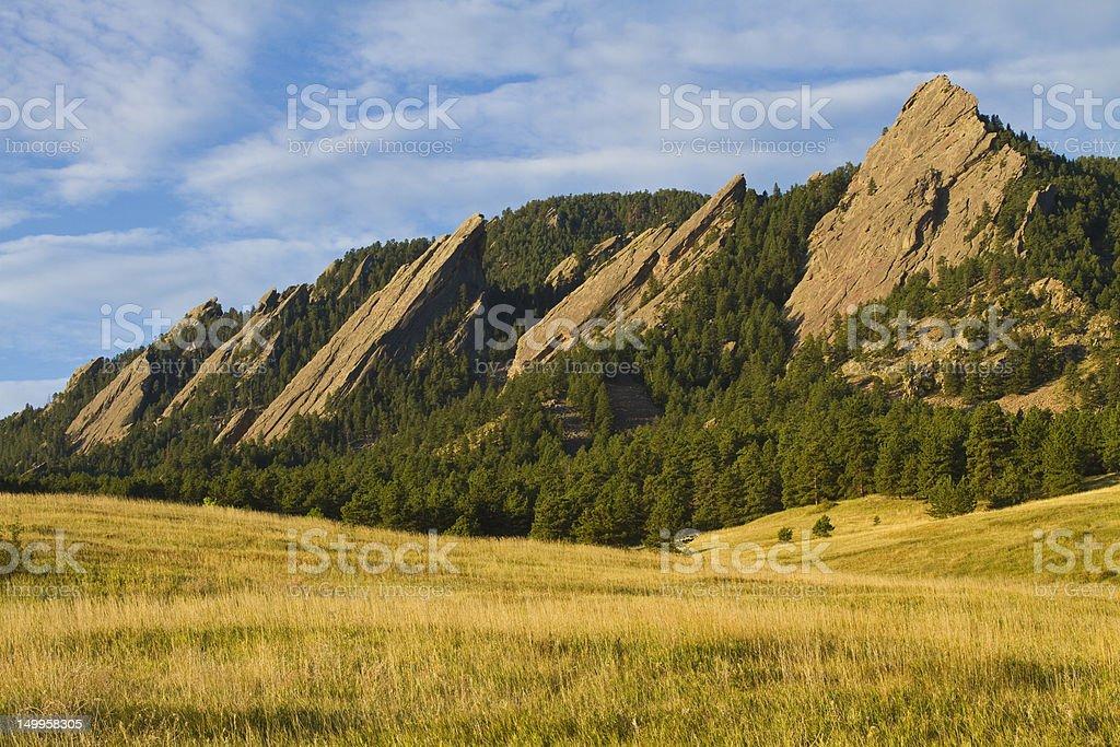 Flatiron Morning Light Boulder Colorado stock photo