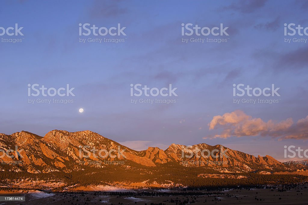 Flatirons at Dawn with Full Moon royalty-free stock photo