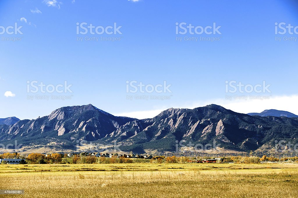 Flatirons in the fall stock photo