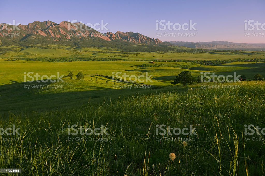 Flatirons outside of Boulder Colorado. stock photo