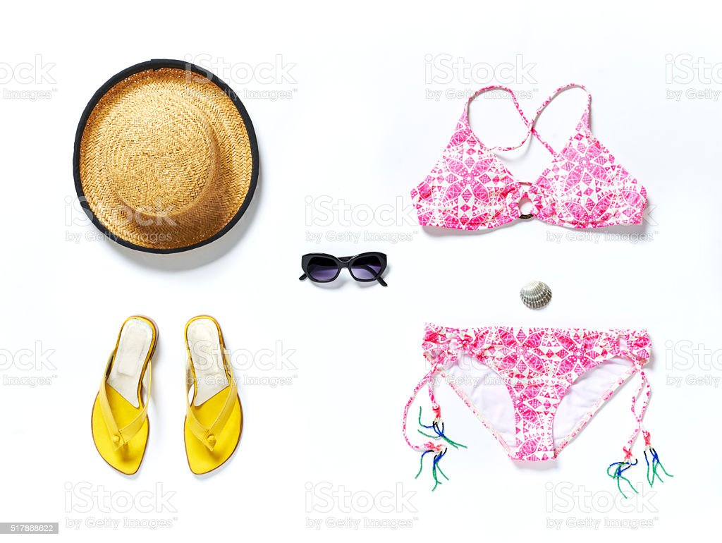 flatlay top travel vacation bikini hut stock photo