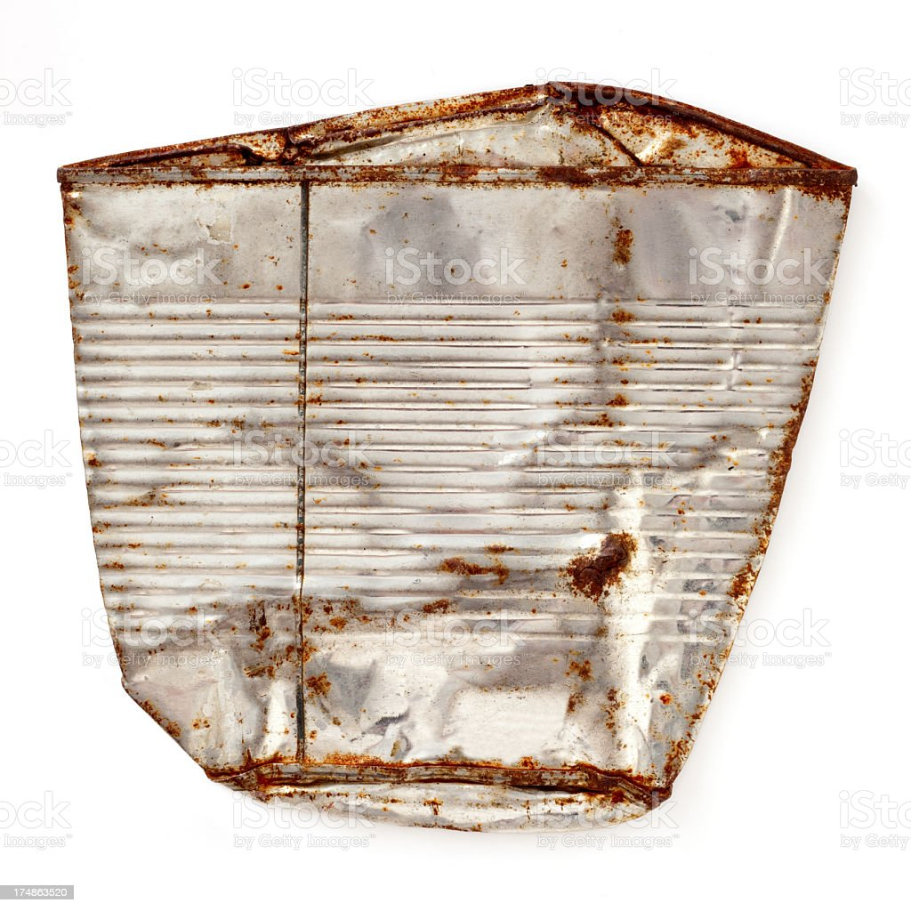Flattened and rusted aluminum can royalty-free stock photo