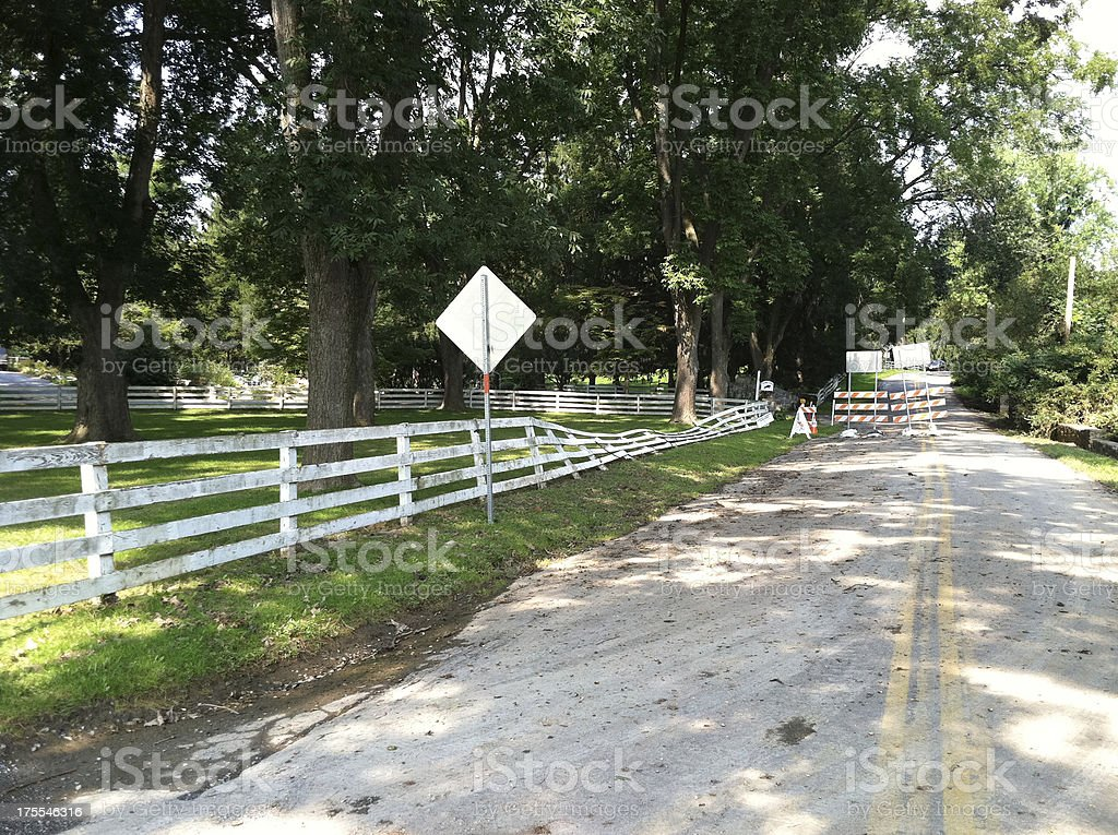 Flattened Fence from Flood royalty-free stock photo