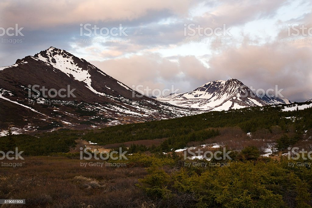 Flattop Mountain at Sunset Anchorage Alaska stock photo