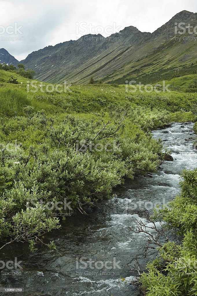 Flattop Mountain in the Chugach Mountains, Alaska stock photo