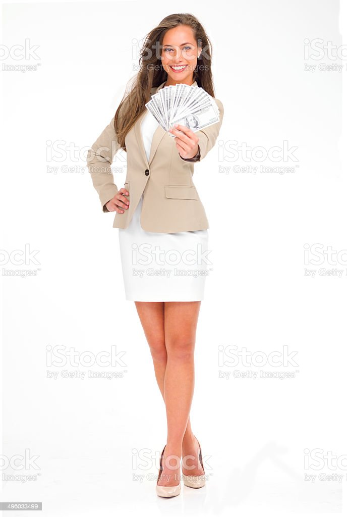 Flaunting her success stock photo