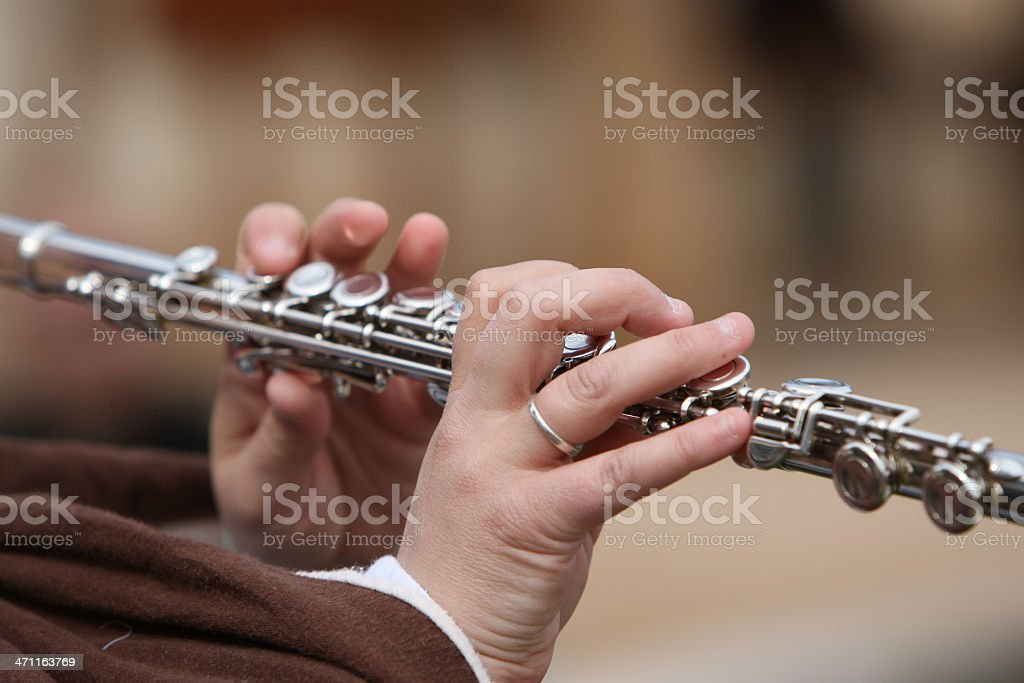 Flautista suona il flauto foto stock royalty-free