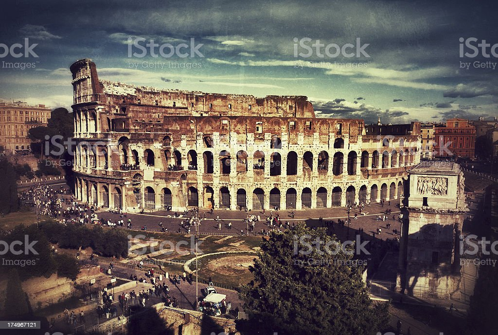Flavian Amphitheater, or Coliseum, from Palatine Hill royalty-free stock photo